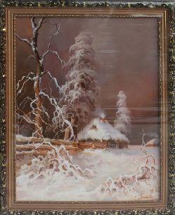 Зимний домик - Зимний пейзаж <- Картины маслом <- Картины - Каталог | Универсальный интернет-магазин подарков и сувениров