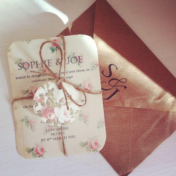 Beautiful rustic wedding invite