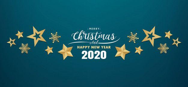 Merry Christmas And Happy New Year 2020 Banner Felicitaciones De Ano Nuevo Tarjetas De Felicitacion De Ano Nuevo Saludos De Ano Nuevo