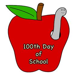 100th Day of School craft for kids - Apple with a worm. Color, cut out, and glue