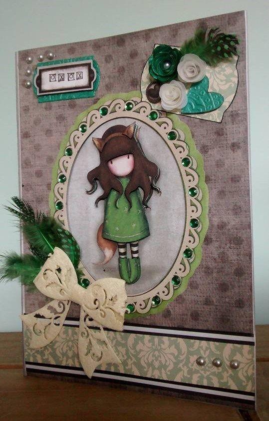 Handmade card using the Santoro's Gorjuss collection.