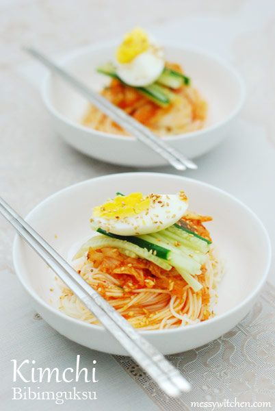 Korean Recipe: Kimchi Bibimguksu - Spicy Cold Noodles with Kimchi
