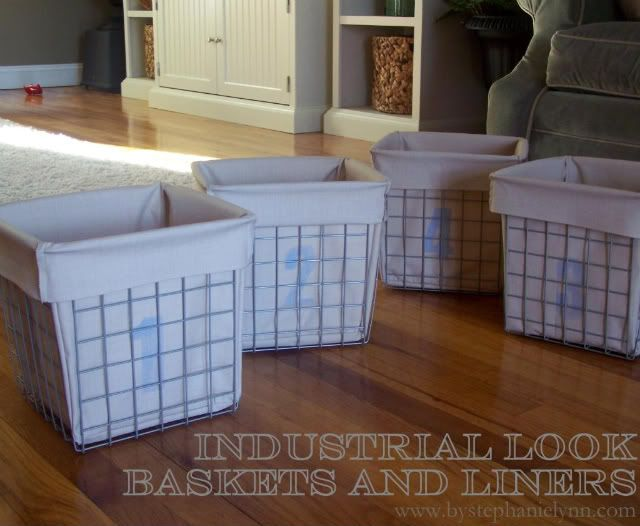 industrial look baskets and liners (like those at Restoration Hardware)