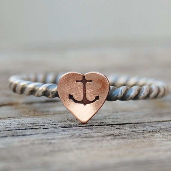 Anchor Heart Ring  Hand Stamped  Sterling Silver by lovestrucksoul, $18.00