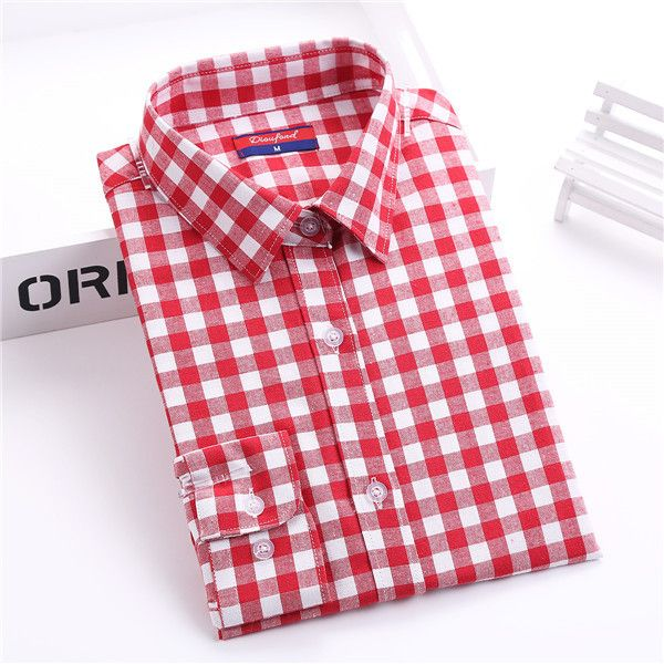 Brand Women's Plaid Blouse Cotton Women Long Sleeve Tops Ladies Red Plaid Shirt Female Tartan Plaid Women Blouse Plus Size 2016