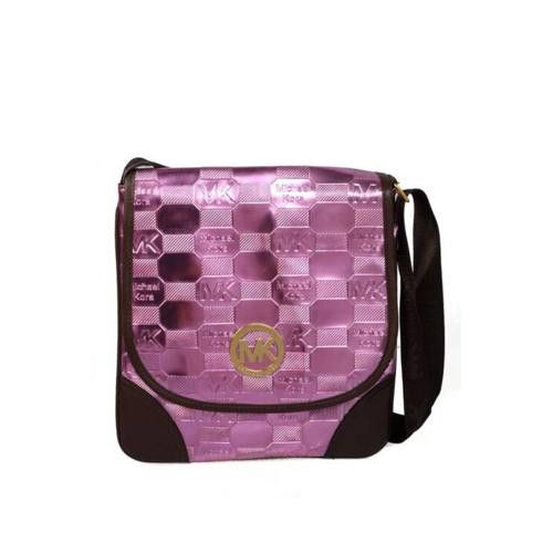 Michael Kors Logo Embossed Leather Large Purple Crossbody Bags Outlet