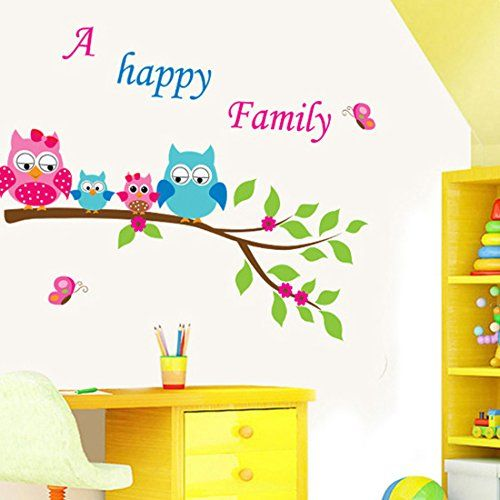 Wall Decal Owls Leaves English Letters Home Sticker Paper Removable Living Dinning Room Bedroom Kitchen Art Picture Murals DIY Stick Girls Boys kids Nursery Baby Playroom Decoration ** You can find out more details at the link of the image.