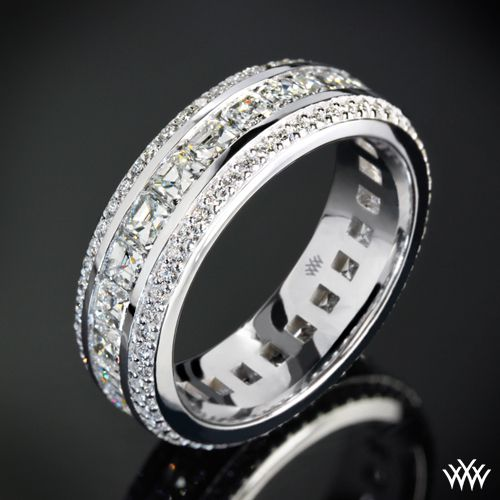 cast in 18k white gold this stunning custom diamond wedding ring holds two rows of mens diamond wedding bandsmen