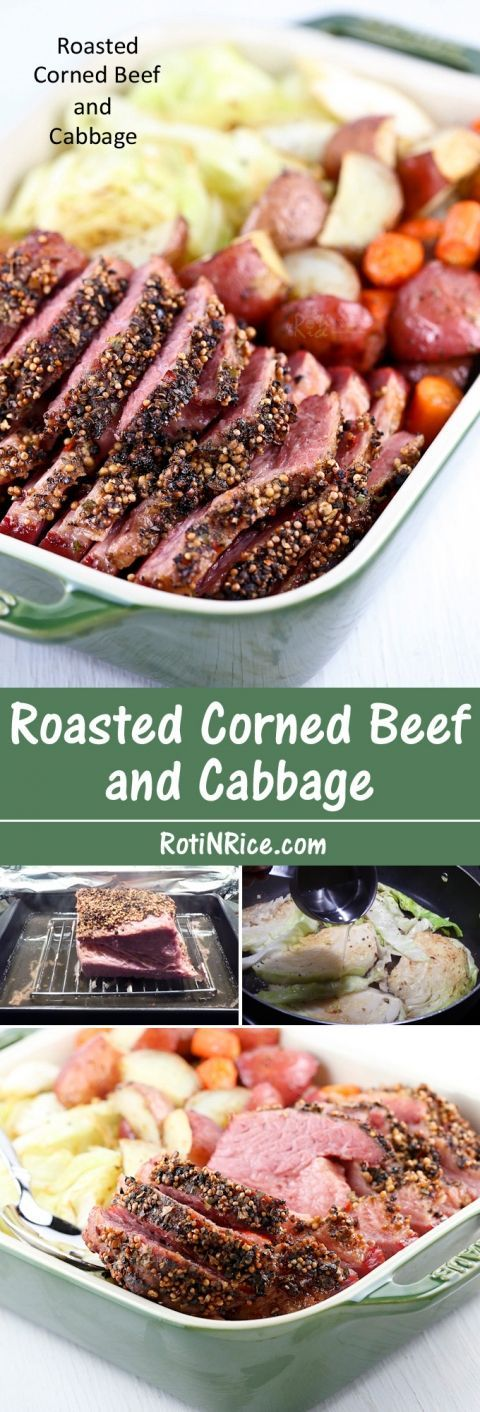 This slow Roasted Corned Beef and Cabbage is totally worth the time to prepare it. Delicious served with baked potatoes, carrots, and pan fried cabbage wedges. | Food to gladden the heart at http://RotiNRice.com