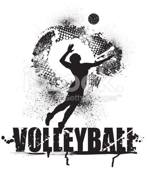 Volley servir de Grunge Graphic-FEMMES cliparts vectoriels libres de droits