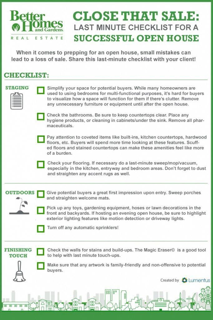 Last-minute Checklist for a Successful Open House INFOGRAPHIC