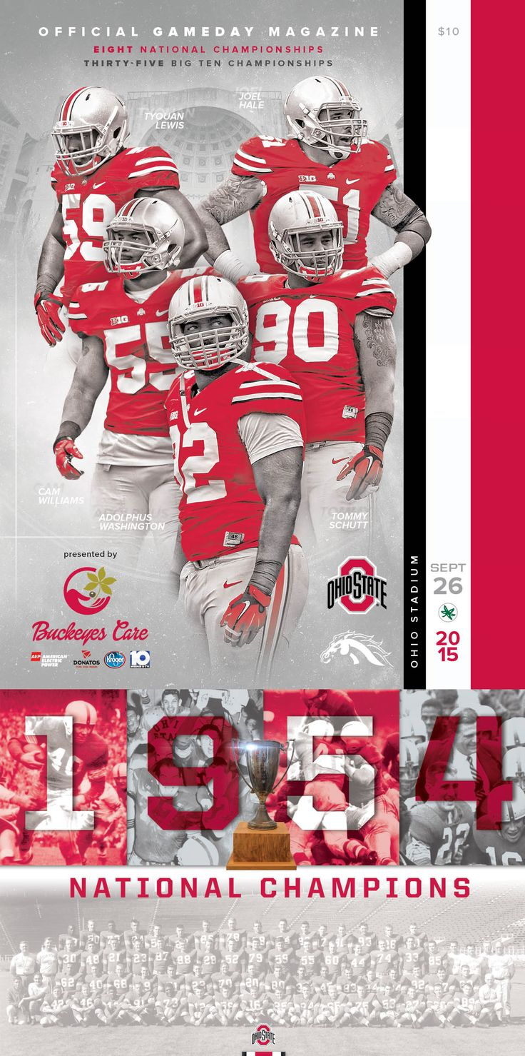 A limited edition collectible 1954 Ohio State Buckeyes Football National Champions Poster included with all official 2015 Ohio State vs. Western Michigan Gameday Magazines. #GoBucks #OSU