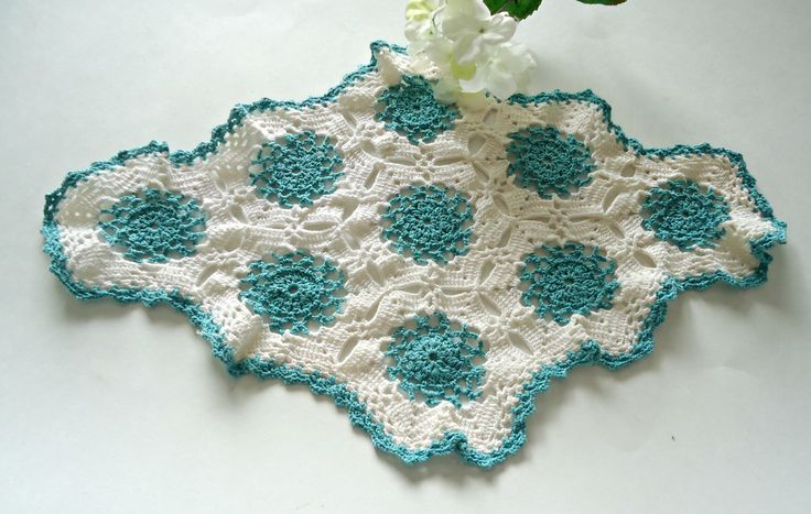 Vintage Doily Crocheted Large Doily Green Lagoon & White  Doilies  G4 by TreasureCoveAlly on Etsy