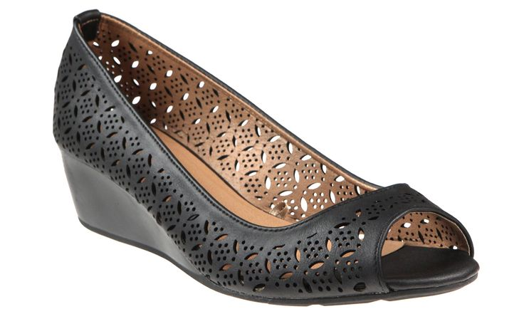 Capelli New York Perforated Faux Leather Peep Toe Ladies Wedge Shoes Black 10. Perforated Faux Leather Peep Toe. Faux Leather Lining. Memory Foam. Rubber Outsole. Ladies Wedge Shoes.