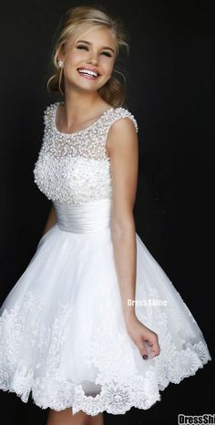 Beaded Scoop Neckline White Lace Homecoming Dress and Short Prom Dress - Homecoming Dresses - Homecoming   Cocktail   Party