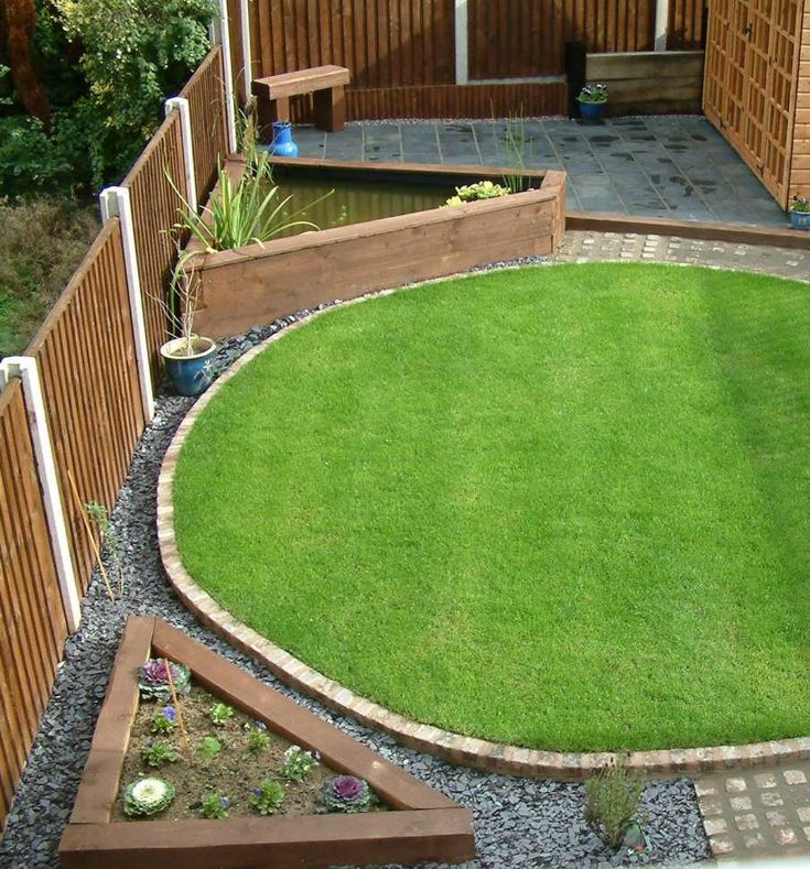 landscaping with railway sleepers small garden design ideas round lawn - Lawn Design Ideas