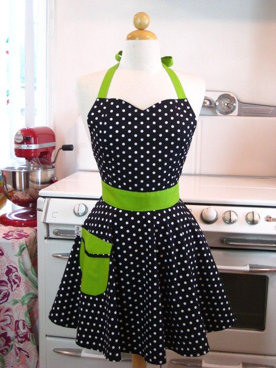 Retro Full Apron Sweetheart Neckline Black and White Polka Dot with Lime Green BELLA on Etsy, $28.75