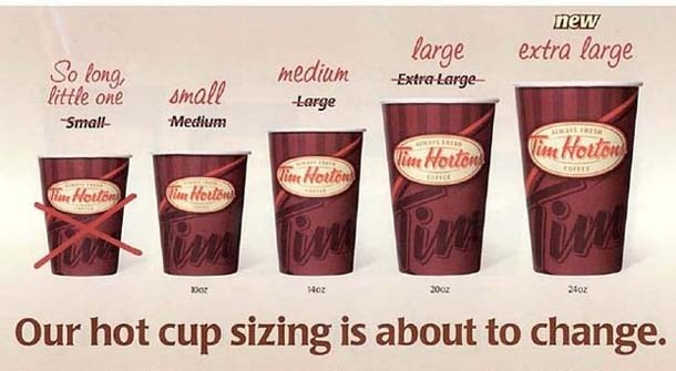 Tim Horton's.... Canadian sizing is so much smaller than American!!! The old medium is 10 oz