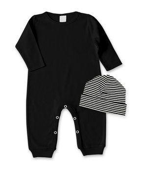 Black Playsuit & Ivory Stripe Beanie - Infant