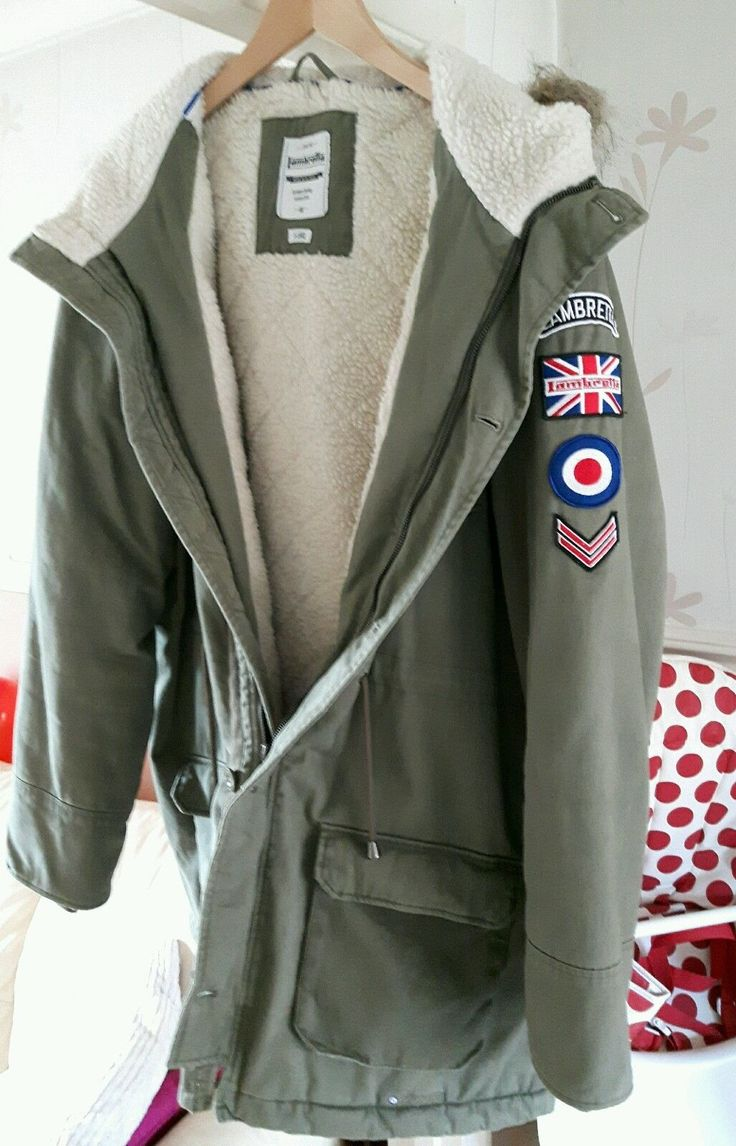 Lambretta fishtail khaki mod hooded parka fur lined xxl rrp £130 ...