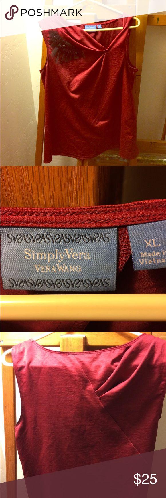 Vera Wang Simply Vera Top. Ruby with Black Accent Vera Wang Simply Vera. Ruby top with Black accent. Beautiful details. Size XL. Vera Wang Tops Camisoles