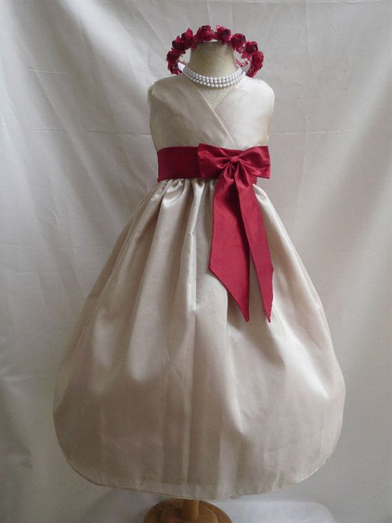 Flower Girl Dress CHAMPAGNE w/ Red VN for Baby Teen by mykidstudio, $34.00