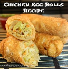 I LOVE egg rolls. Well, since the past few years. Save money and make your own with this Chicken Egg Rolls Recipe. Homemade always tastes better!