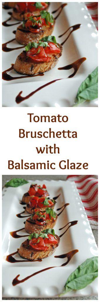 Tomato Bruschetta with Balsamic Glaze is so good! Vegan.