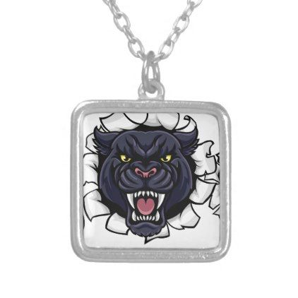Black Panther American Football Mascot Silver Plated Necklace - jewelry jewellery unique special diy gift present