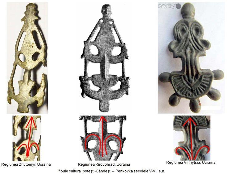 Fibule al căror corp este realizat astfel încât să sugereze o siluetă feminină, având o jumătate umană, cealaltă fiind reprezentată prin două volute dispuse de-o parte şi de alta a unui ax real sau imaginar, evocând Pomul Vieţii.