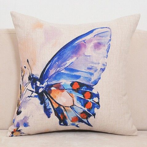 Watercolor butterfly throw pillow for couch pastoral style