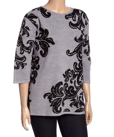 Look what I found on #zulily! Black & Gray Filigree Sweater - Plus #zulilyfinds