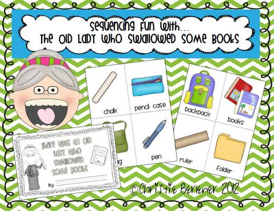 Sequencing with Book, There Was an Old Lady Who Swallowed Some Books by Lucille Colorando