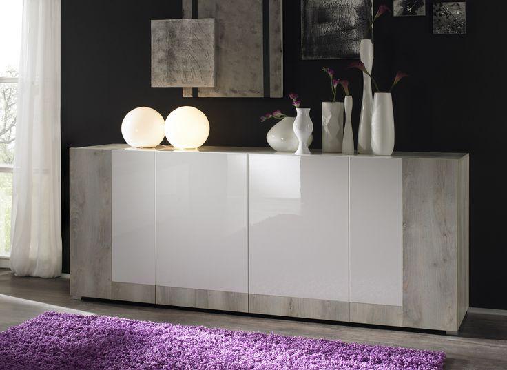 Dieses Sideboard überzeugt durch die moderne Kombination mit weiss hochglanz und Pinie weiss. Sideboard weiss hochglanz / Pinie weiss 12-00477