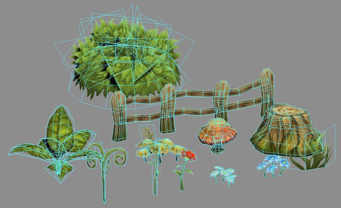 Low-poly plants pack