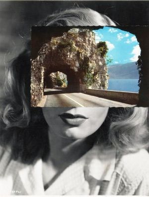 John Stezaker - Mask. Unusually juxtaposing landscape and portraiture in a collaged composition creating an unsatisfying distraction however a strong and directed focal point within the composition e.g. road.