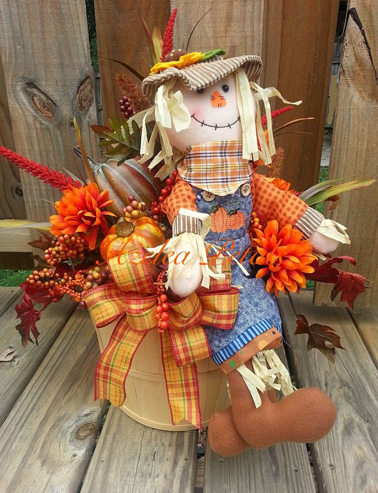 Fall Scarecrow Bushel Basket with Pumpkins, Fall Arrangement, Thanksgiving Centerpiece, Halloween Table, Home Decor, Harvest Arrangement by Azeleapetals on Etsy