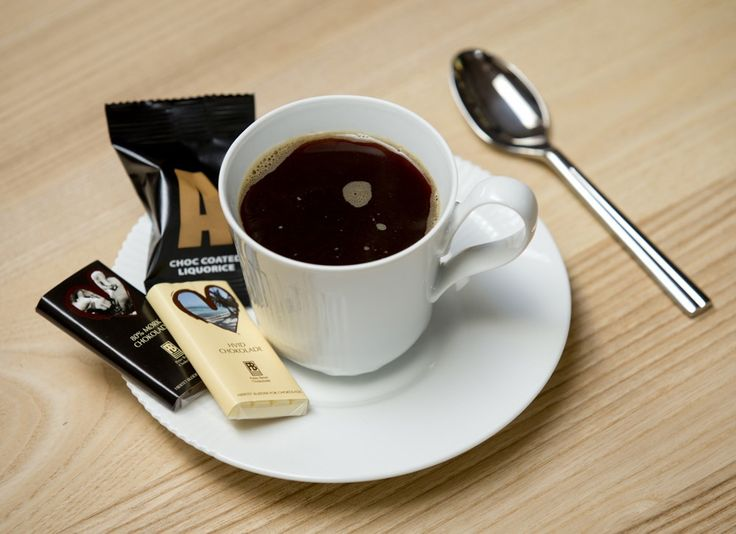 French press coffee served with chocolate from Peter Beier and Liquorice by Johan Bülow – two famous Danish brands.