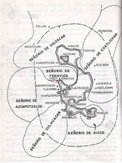 División territorial de la cuenca y valle de México durante el Posclásico. El territorio de Tlalnepantla y de Iztacala se ubicaba en el señorío de Tenayuca. SEP. Leer más: http://www.monografias.com/trabajos83/relacion-reyes-y-san-juan-iztacala-parte-2-epoca-prehispanica/relacion-reyes-y-san-juan-iztacala-parte-2-epoca-prehispanica2.shtml#ixzz3yyKMUksk