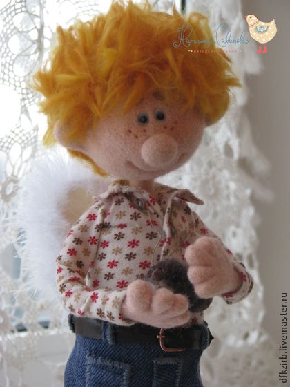 ангел для Татьяны - рыжий,ангел,валяная игрушка,кукла ручной работы,мальчик