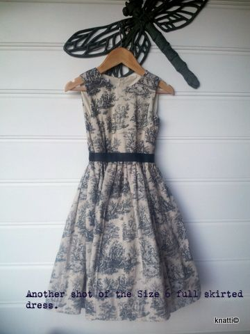 Ruby Tea Dress - from sizes 12mths to 14 years. This one is in black & ivory country style toile with tulle petticoat trim.
