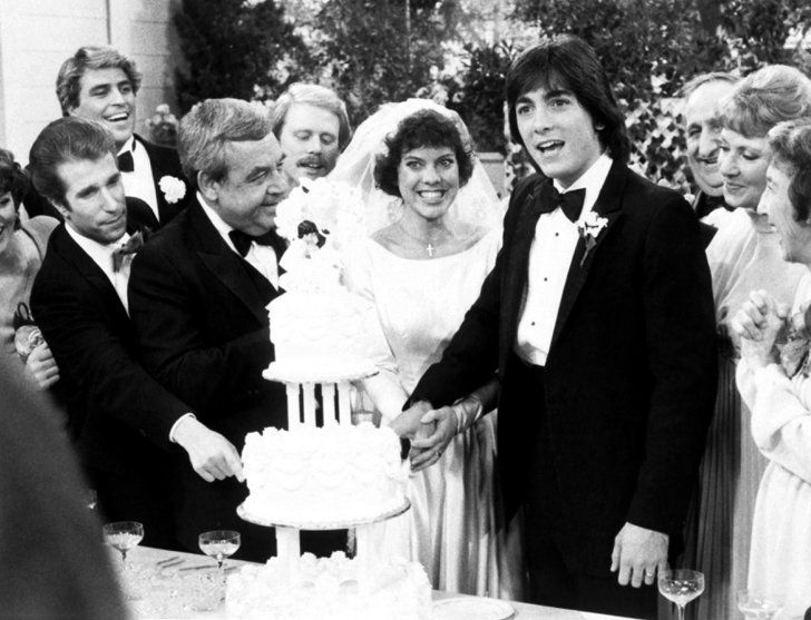Pin for Later: The Ultimate Movie and TV Weddings Gallery Happy Days On the Happy Days series finale, Joanie (Erin Moran) and Chachi (Scott Baio) get hitched, and the whole gang is there for one big celebration.