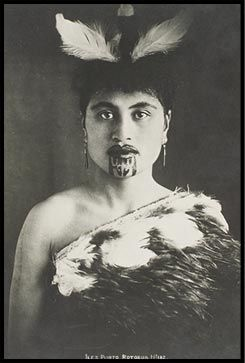 Maori woman.  The permanent blue stain on a Maori woman's tattooed mouth symbolized female beauty among her people in New Zealand. The personal facial tattoo, or moko, communicated her lineage, social position, and marriage eligibility. Photograph from Iles Photo/submitted by Chas J. Glidden, circa 1919