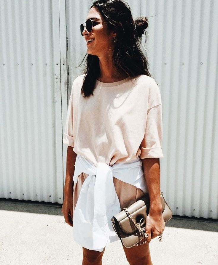 T-shirt dress with white jacket tied around it