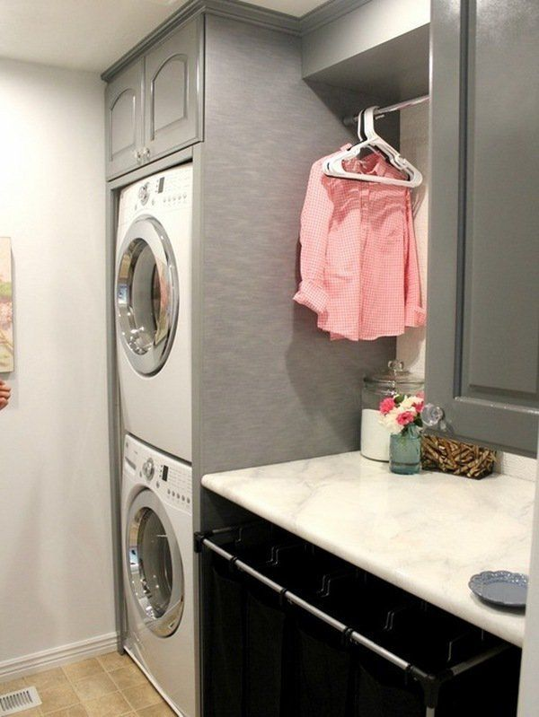 Small Laundry Room Design Ideas Black Gray Cabinets Stacked Washer And Dryer