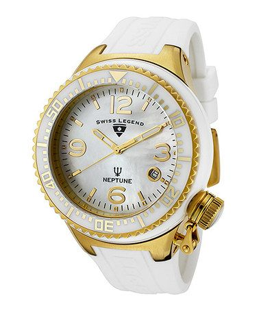 Take a look at this White & Gold Diamond Pearl Neptune Watch - Women by Swiss Legend on #zulily today!