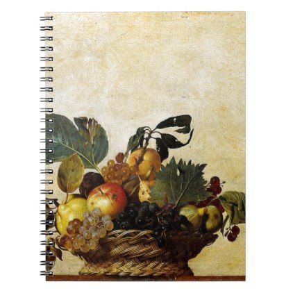 Caravaggio - Basket of Fruit - Classic Artwork Notebook - antique wedding gifts  special custom party