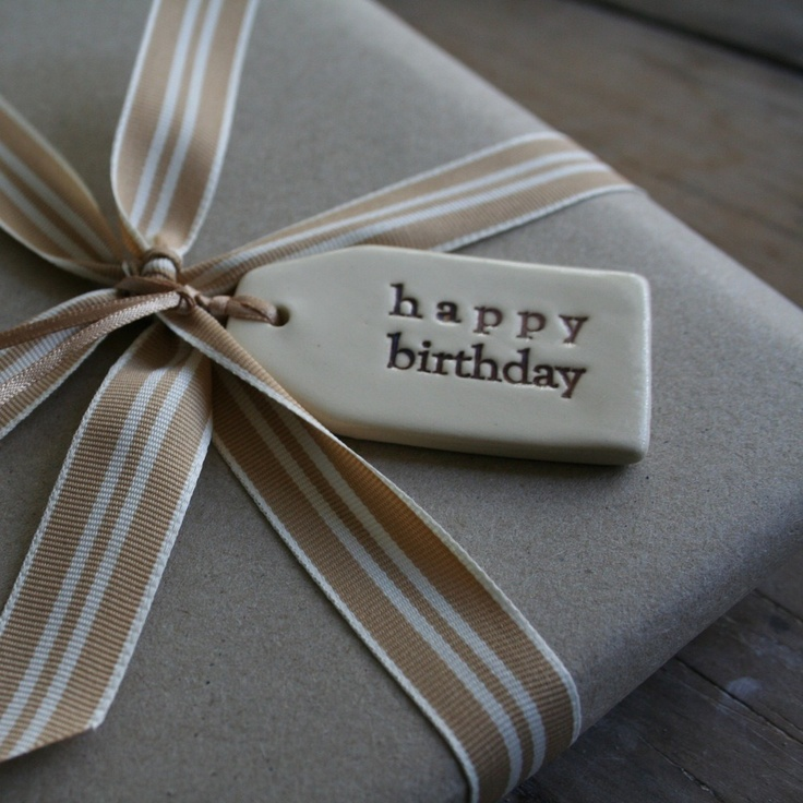 Image of ceramic small tags - happy birthday/thinking of you... etc