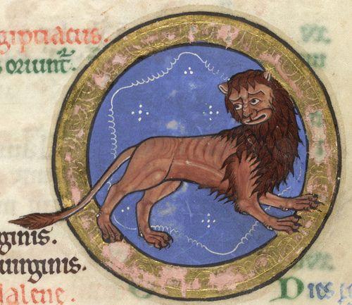 The Hunterian Psalter: Calendar. Zodiac Sign of Leo.