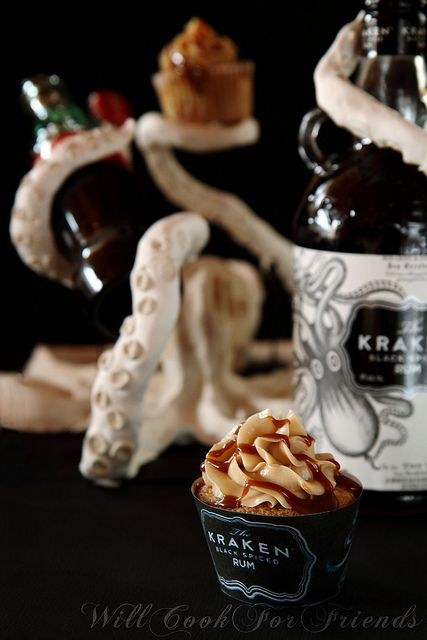 The Kraken Rum and Coke Cupcakes with Rum and Coke Swiss Meringue Buttercream, and Rum Spiked Salted Caramel Sauce - to die for!